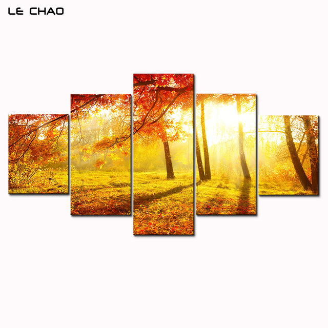 LE CHAO Wall Art Canvas Painting Red Trees Landscape Canvas Painting ...