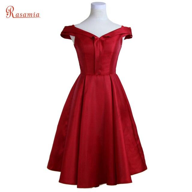 6331b6c3862f8 الأحمر الساتان الخامس الرقبة فساتين سهرة أنيقة vestidos فساتين السهرة قصيرة  الأزرق الداكن حزب رسمي مساء