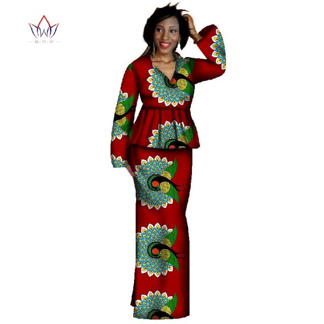2019 New Africa Skirt Sets Dashiki Plus Size African Clothing Bazin Crop Top    Skirt Traditional African Clothing WY339 78b8d750e2b5