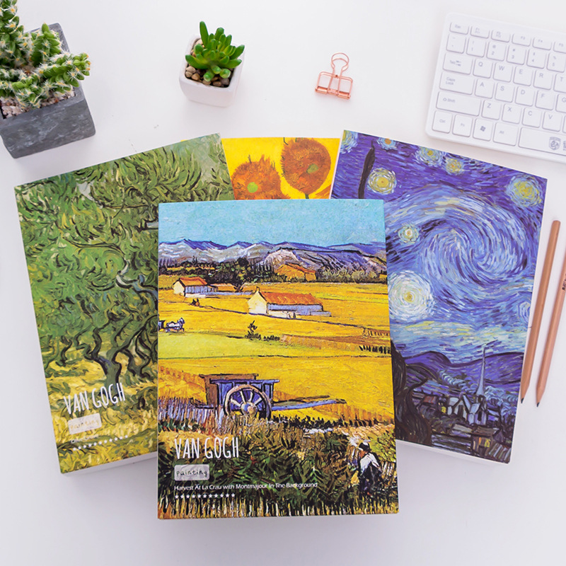 128 sheets Sketchbook Thick Paper 100g Color pencils notebooks Graffiti Watercolor Book Van Gogh Sketch Book new sketchbook diary drawing paiting graffiti sketch book thick notebook paper 128 sheets b5 size supplies gift