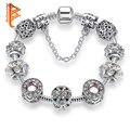 Original 925 Cristalinos de Plata de Cuatro Hojas Del Trébol De La Pulsera con Cristal de Murano Glass Beads Charm Bracelet Brazalete para Las Mujeres DIY Joyería
