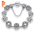 Original 925 Silver Crystal Four Leaf Clover Bracelet with Clear Murano Glass Beads Charm Bracelet Bangle for Women DIY Jewelry