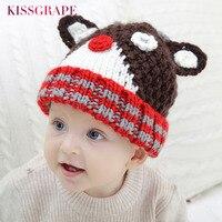 6M 8Years Baby Boys Winter Warm Caps Hats Kids Animal Deer Caps Children S Handmade Knitted