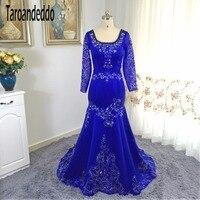 Квадратный вырез королевский синий вышивать Кружево свадебное платье Русалка нижней части спины Длинные рукава Свадебное платье с кристал