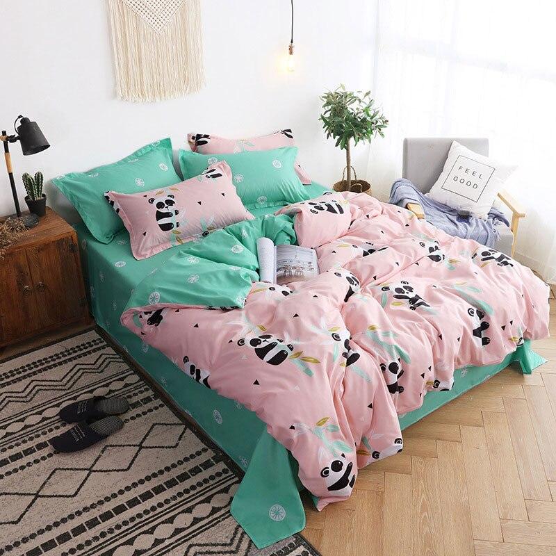 Panda 4pcs Girl Boy Kid Bed Cover Set Cartoon Duvet Cover Adult Child Bed Sheets And Pillowcases Comforter Bedding Set 2TJ-61005
