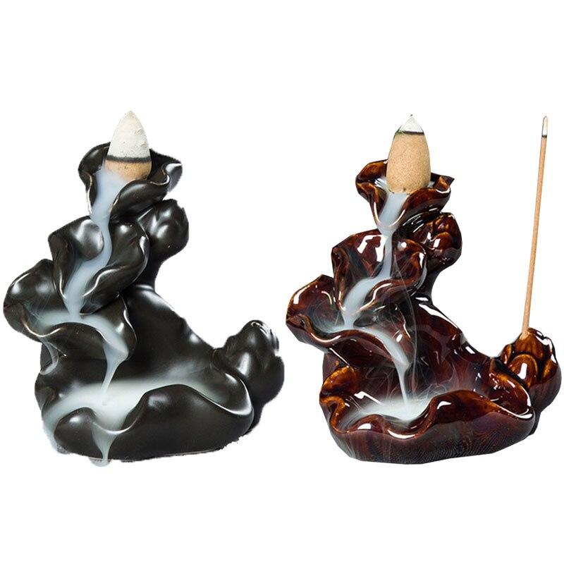 1Pcs Ceramic Incense Burner Back Flow Home Decor Lotus Stick Aromatherapy