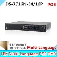 Najnowszy 16CH NVR DS-7716N-E4/Wsparcie 4 SATA HDD 16 P Z 16PoE Network Video Recorder PoE NVR dla KAMER IP kamera Z Wielojęzyczne