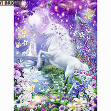 "5D DIY Persegi Lukisan Berlian Cross Stitch ""Fantasi Bunga Unicorn"" Diamond Bordir Mosaic Berlian Imitasi Menjahit Dekorasi(China)"