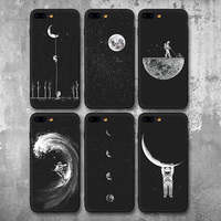 Newest Space Moon Astronaut Pattern Phone Cases For iphone 7 8 Case For iphone 7plus 8Plus Planet Star Frosted Soft Back Cover