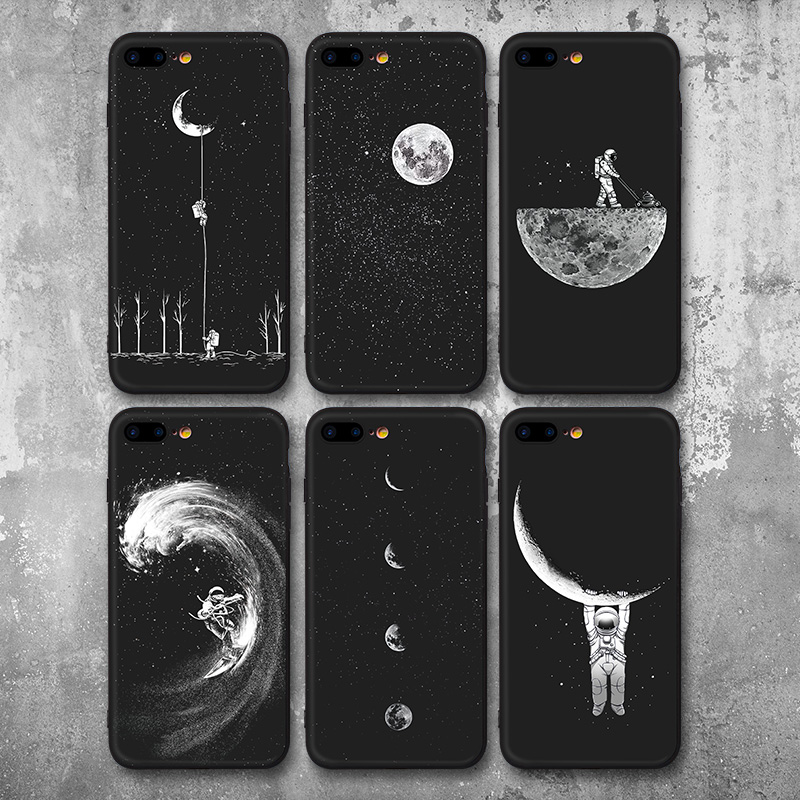 Новые пространства Луна астронавтов узор Телефонные Чехлы для iPhone 7 8 чехол для iPhone 7 плюс 8 плюс Планета Звезда матовый Мягкий Назад крышка