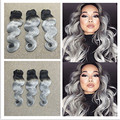 Full Shine Hot Selling Brazilian Remy Human Hair Body Wave Hair Bundles 1B Silver OmbreTwo-toned Color Hair Weave Three Bundles