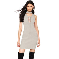 V Neck Solid Hollow Out Knitted Bodycon Mini Dress Autumn Fashion Grey White Lace Up Elegent