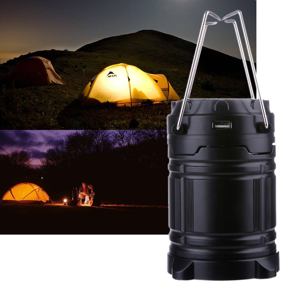 Portable 6 LED Rechargable Camping Light Collapsible Solar Camping Lanterns Tent Lights for Outdoor Camping Travel with Hook