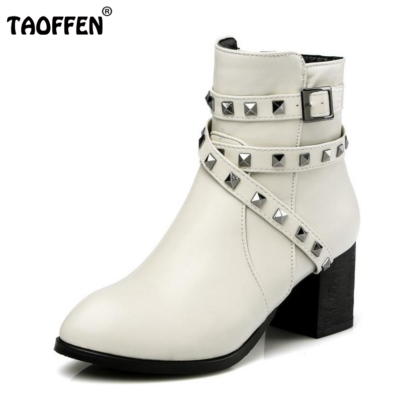 Women Fashion Pointed Toe Martin Boots Woman Fashion Cross Strap Rivets Ankle Botas Square Heels Shoes Woman Size 30-48 odetina fashion women pointed toe rivets loafers 2017 spring