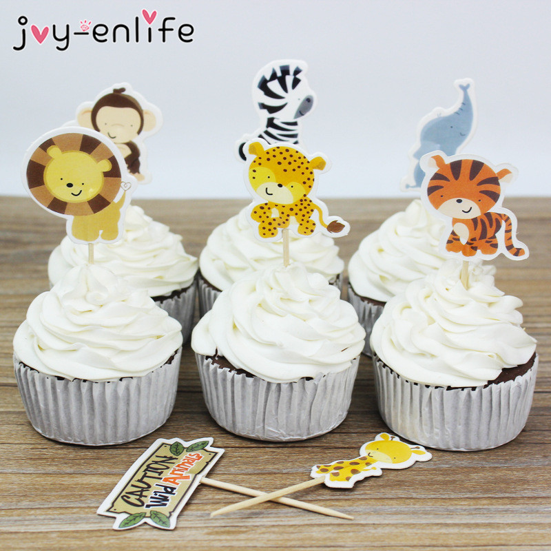 JOY-ENLIFE 24pcs/lot Lovely Animal Cupcake Toppers Picks Birthday Party Decor Kids Baby Shower Boy Favors Cake Decor Supplies