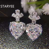 STARYEE Luxury Fancy Heart Cut 5Ct Simulated Diamond Women Stud Earrings Real 14K Au585 White Gold