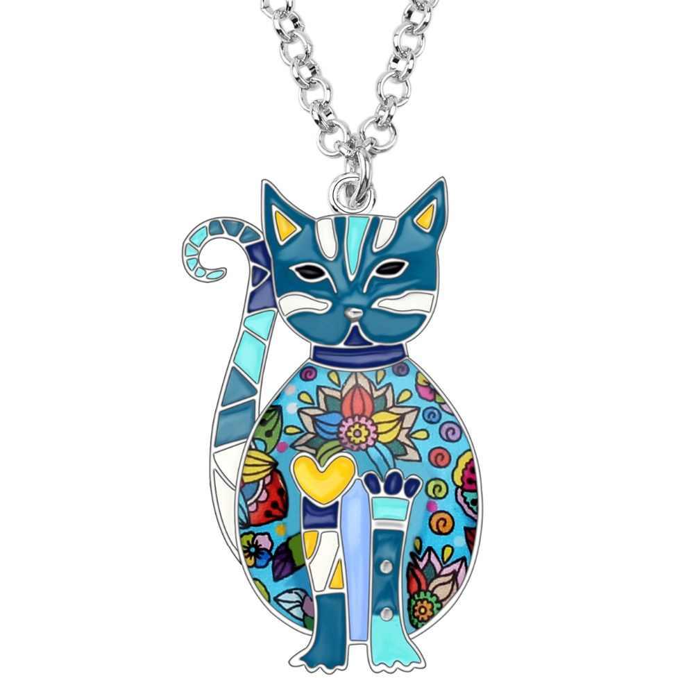 Weveni Enamel Alloy Bunga Kucing Kucing Kalung Rantai Kalung Liontin Fashion Perhiasan untuk Wanita Gadis Aksesoris Wanita Remaja Hadiah