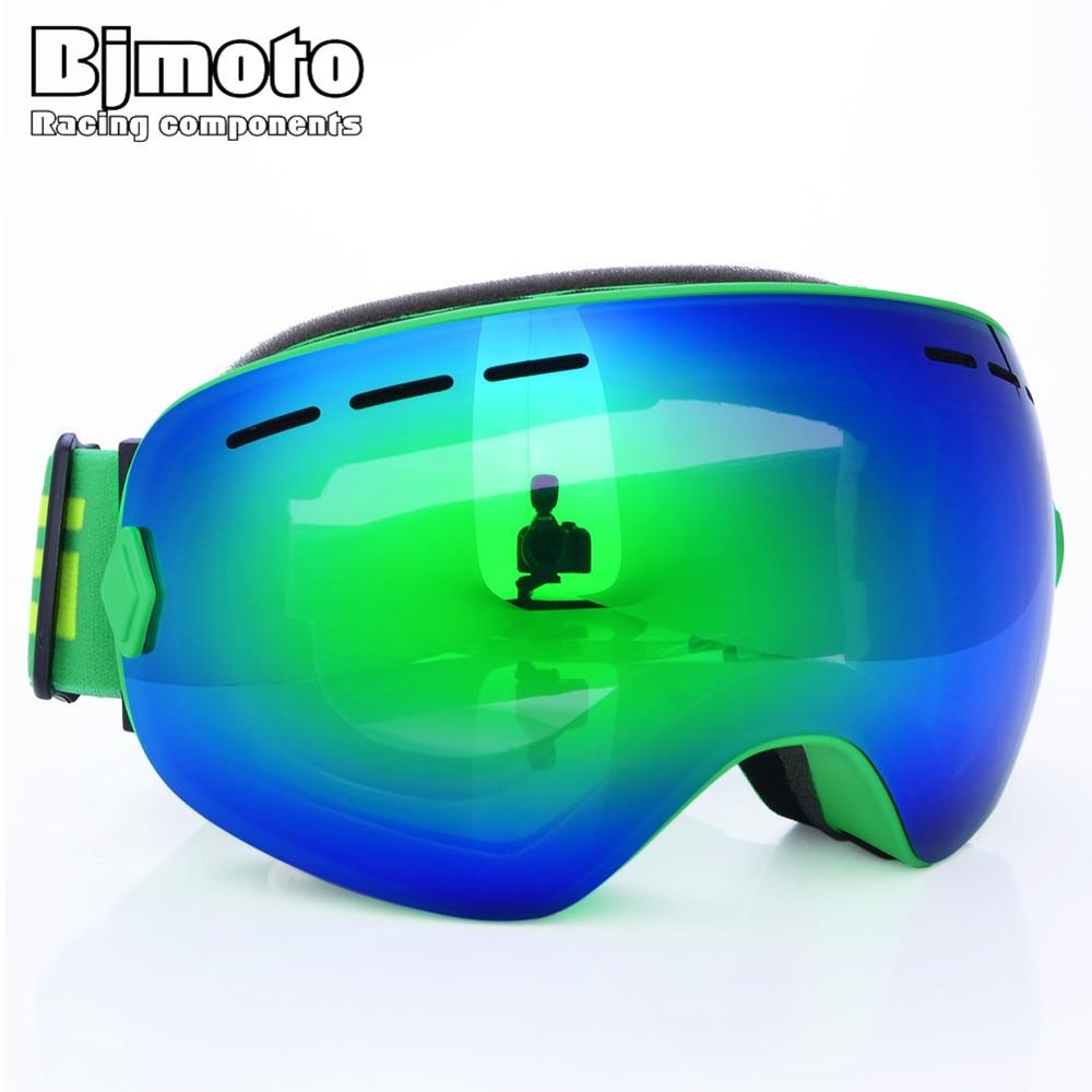 BJMOTO Мотокросс Зимний Лыжный Goggle Дважды объектива UV400 Анти-туман очки Гибкая Лыжный Спорт Снег Сноуборд очки мотоцикл очки