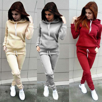 2PC Clothes Ladies letter Tracksuit Set 2pcs Tops And Pants Suit Sweatshirt Sweater Women Ladies Clothes