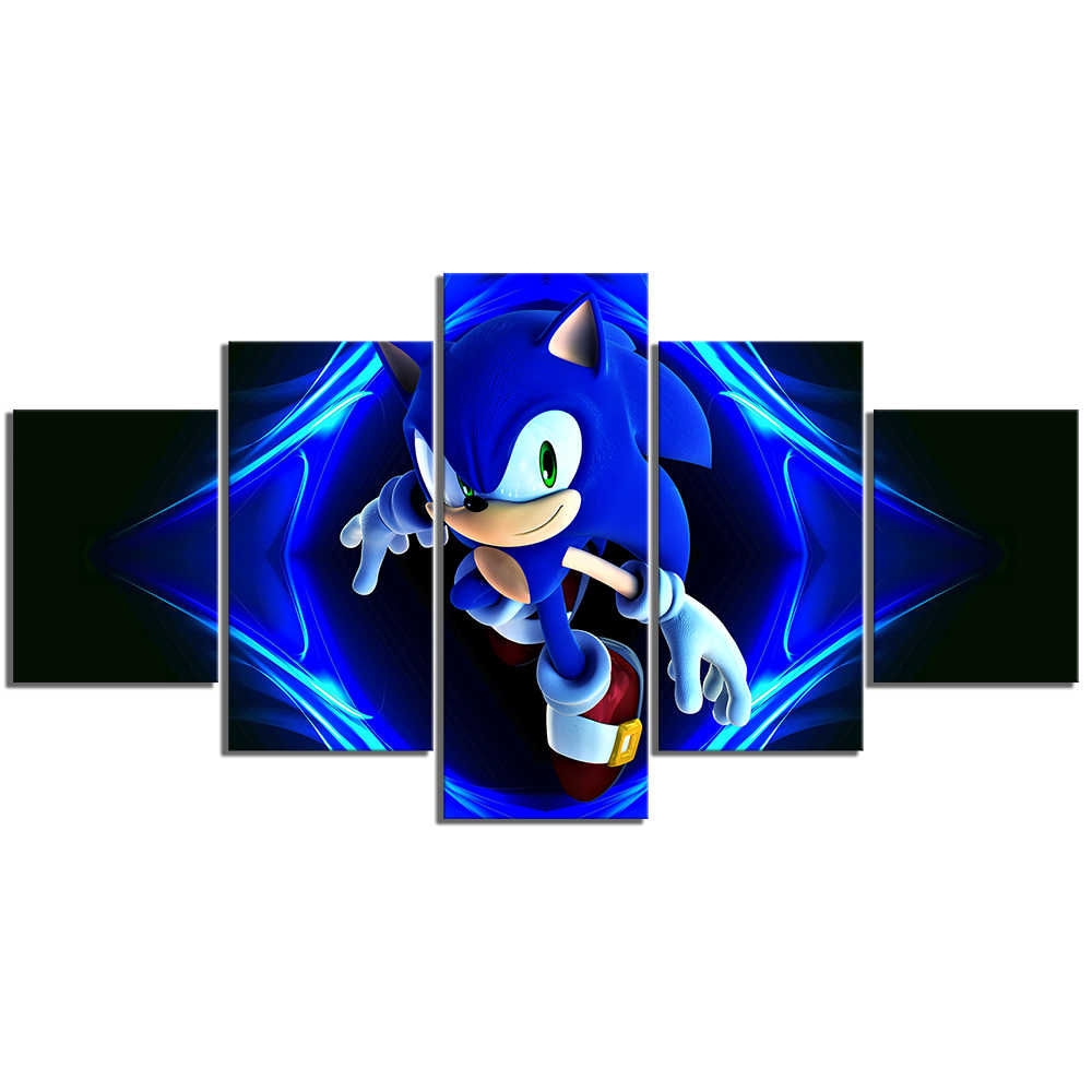 Canvas Painting Wall Art Home Decoration 5 Panel Sonic The Hedgehog Video Game Poster Bedside Background Frame Modular Picture Aliexpress