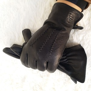 Image 2 - 2020 New  man deer skin leather gloves male warm soft mens glove black three lines design men mittens sheep hair lining