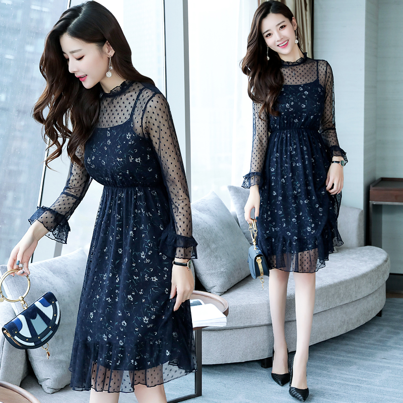 Autumn Winter New Lace Mesh Sexy Club Midi Dresses 2019 Korean Women Elegant Dot Bodycon Dress Party Long Sleeve Runway Vestidos