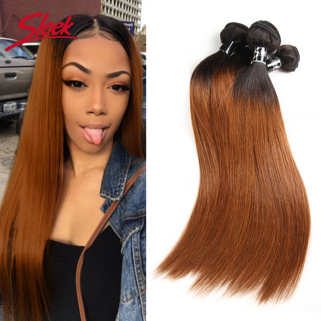 Sleek Ombre Brazilian Hair Straight 1B/30 Human Hair Weave Bundles Deal Two Tone Remy Hair 1 Piece Weft Extensions 10 to 30 Inch