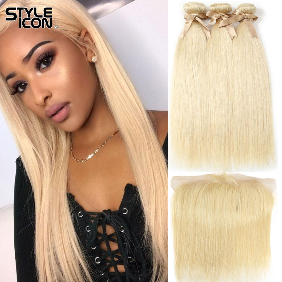 Styleicon 613 Blonde Bundles With Frontal Brazilian Straight Hair Bundles With Frontal Closure Remy Hair Weaves With Closure