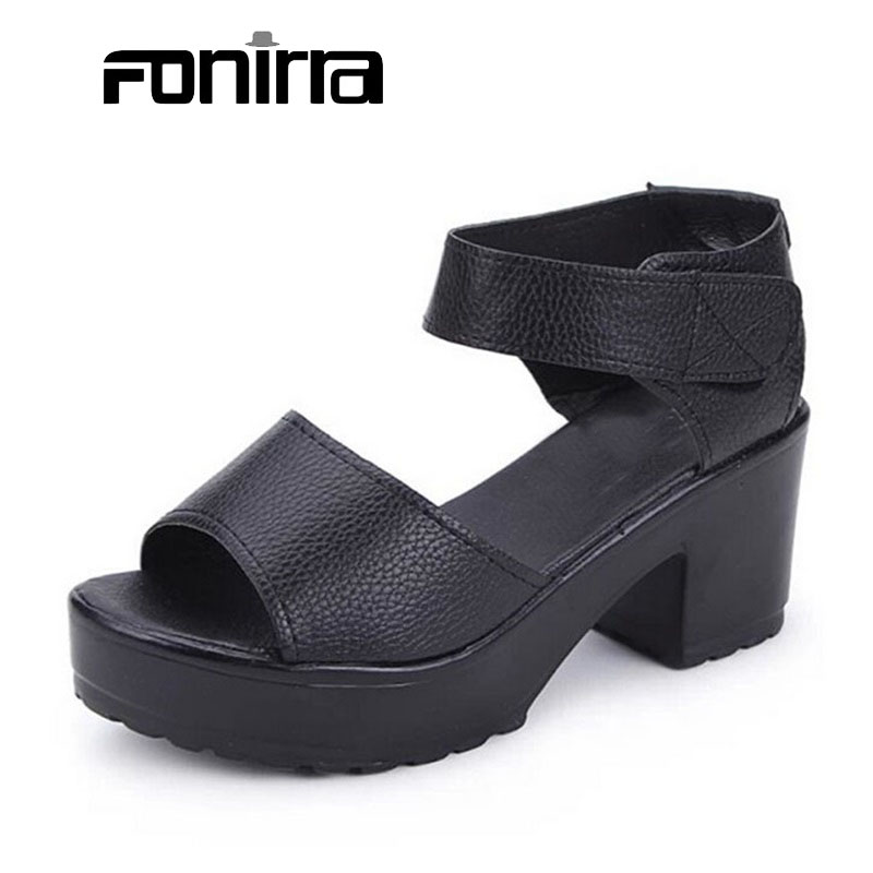 2016 Women Summer Shoes White Black Fashion Platform Thick Heel PU Women Sandals High-heel Sandals Women Shoes for Ladies 023 2015 women summer shoes fashion thick heel office sandals women s high heeled shoes cover heel sandals for ladies dmz3119 1