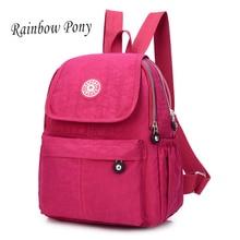 Радуга Пони Опрятный Женщины Рюкзак Водонепроницаемый нейлоновый рюкзак женские рюкзаки Повседневная сумка ноутбук рюкзак Bolsa SAC WH151