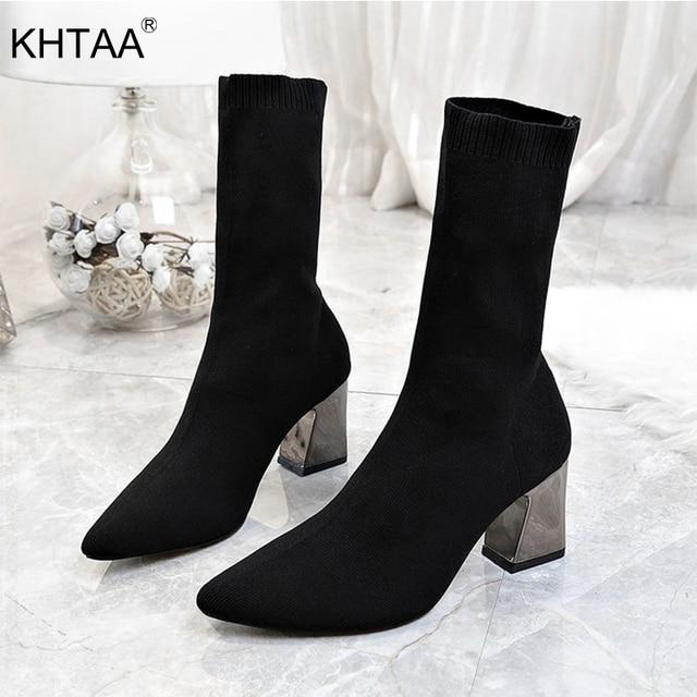 ผู้หญิงฤดูใบไม้ร่วงผ้ายืดกลางลูกวัวรองเท้าชี้ Toe รองเท้าส้นสูงรองเท้าผู้หญิงผ้าฝ้ายผ้ารองเท้าส้นสูงรองเท้า