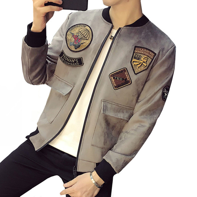 5425d9cd2 US $16.98 30% OFF|Spring Autumn New Suede Jackets Men Fashion 2018 Slim Fit  Patch Design Bomber Jacket Big Pocket Long Sleeve Casual Male Coats-in ...