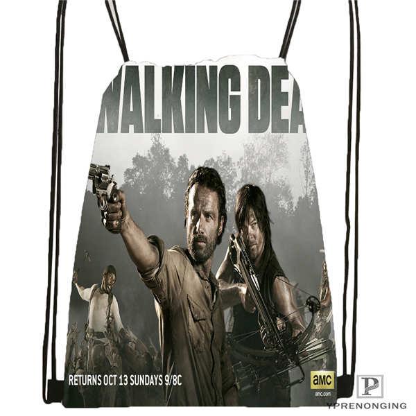Custom Daryl Dixon The Walking Dead 02 Drawstring Backpack Bag Cute Daypack Kids Satchel Black Back