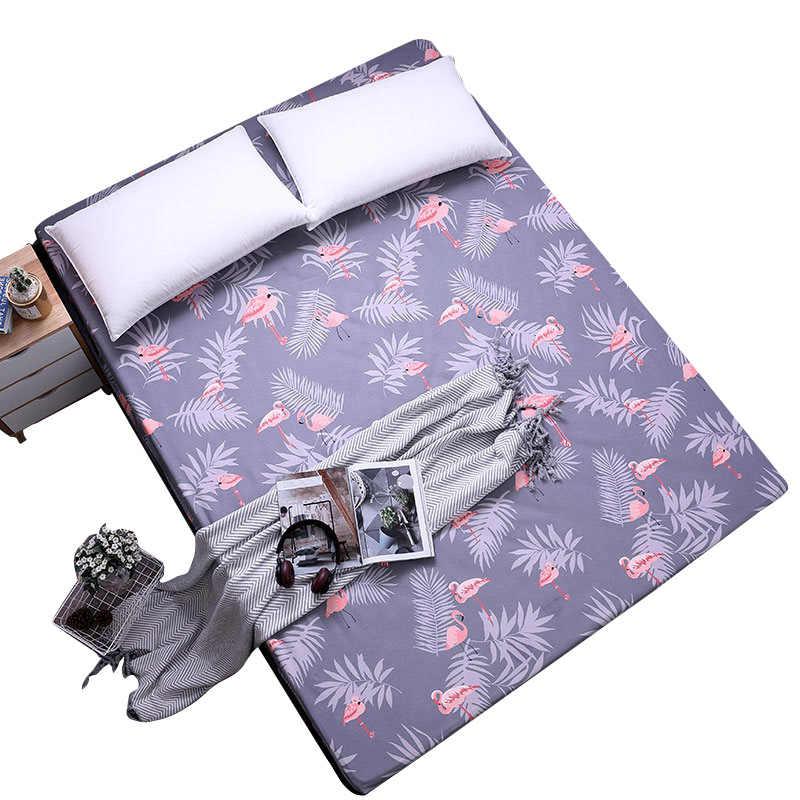 Печать листьев простыня Матовый Постельное белье с эластичной лентой защитный чехол для матраса постельное белье Домашний текстиль 1 шт