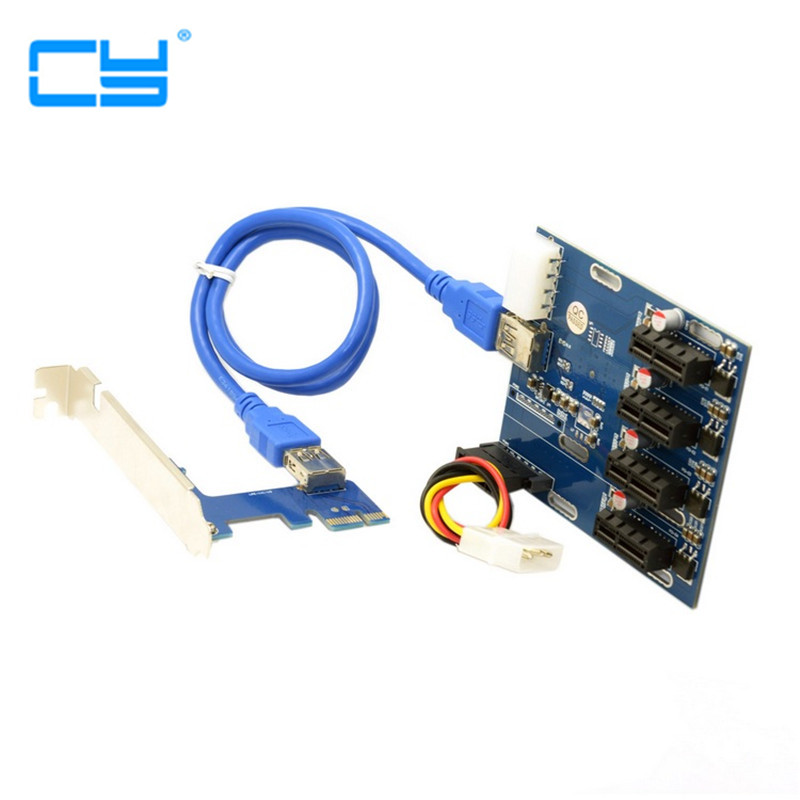 2PCS PCI-e Express 1x to 4 Port 1x Switch Splitter Multiplier Hub Riser Card with USB 3.0 Cable new excellent pcie express 1x to 3 switch multiplier pci e1x expansion hub riser card usb cable