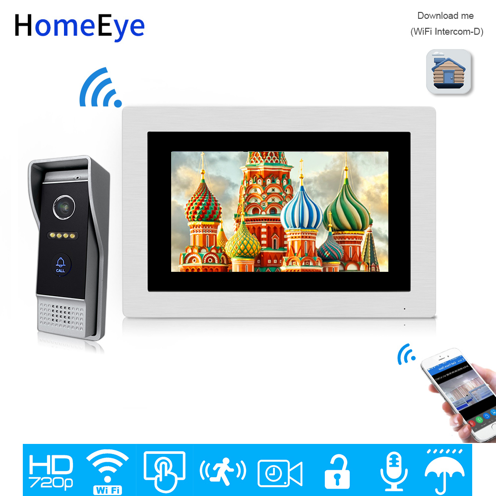 HomeEye 7'' 720P WiFi IP Video Door Phone Video Intercom Home Access Control System Android IOS Phone Remote Unlock Touch Screen