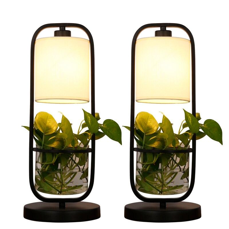Nouveau créatif rétro nordique fer tissu verre plante Pot hydroponique Led E27 lampe de Table pour salon étude chambre H 50 cm 1918