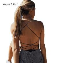 Weyes & Kelf Hot Summer Cotton Women Sexy Bodysuit 2018  Black Bandage Backless Bodies