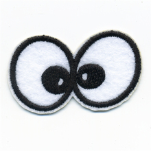 White Black Line Chicken Eyes Embroidery Patches Iron On Or Sew Fabric Sticker For Clothes Embroidered Appliques DIY 5.8CM*3.9CM