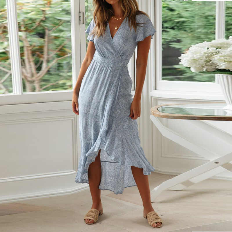 Длинное Макси платье женское летнее с цветочным принтом пляжное платье сексуальное с v-образным вырезом с коротким рукавом и оборками платья Сарафан