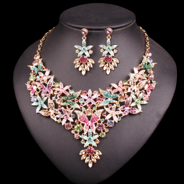 Fashion Butterfly Bridal Jewelry Sets Wedding Necklace Earring For