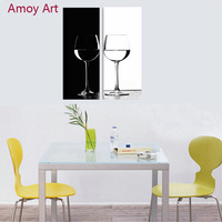 2 Panel Black White Wine Cup Canvas Wall Art Oil Paintings Giclee Still Life Kitchen Art