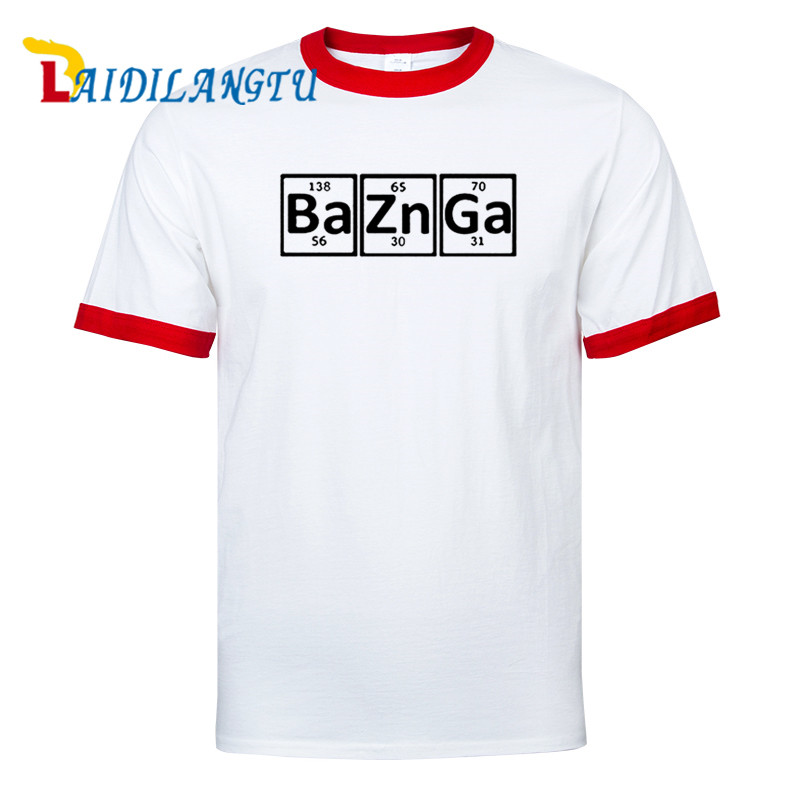 Casual New 100% Cotton Men Raglan Sleeve T Shirt Bazinga Periodic Table The Big Bang Theory Sheldon Cooper T-shirt