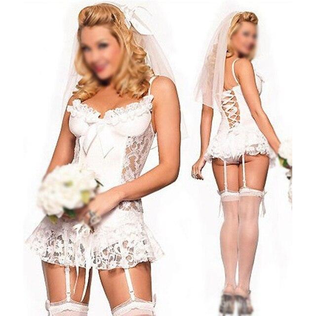 nuovo arrivo 8f7c3 20b45 US $4.81 16% di SCONTO Caldo Bianco da sposa Sexy lingerie Lingerie +  giarrettiera + pantaloni di T + accessori per Capelli cosplay lingerie  erotica ...