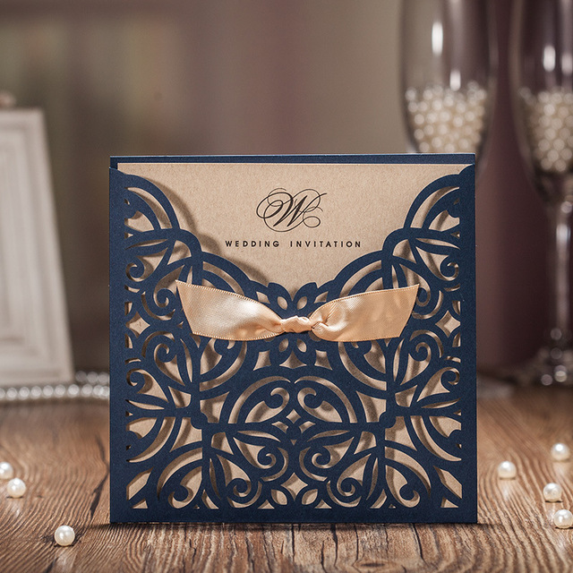50pcs Blue Laser Cut Wedding Invitations Card Greet Personalized Custom With Ribbon Free Envelope