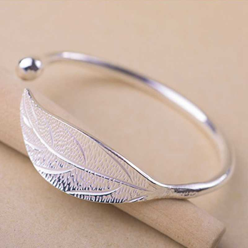 Silver Plated Leaf Charm Bracelets & Bangles For Women Wedding Gift Adjustable Bracelet Pulseira Feminina Open Bracelet