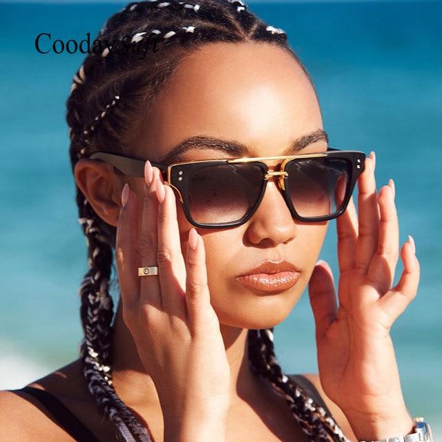 0d69f984c2d30 Coodaysuft Senhora Marca de Moda Designer de Óculos de Sol Lady UV400 lente  transparente Praça Hip