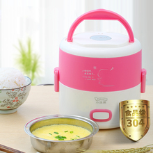 Mini rice cooker Electric Lunch Box stainless steel Portable multi Rice Cooker Heated lunch box cuiseur vapeur electrique steam цена и фото