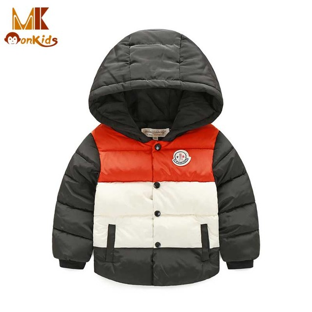 Monkids Children Outerwear Clothing Winter Jacket for Girls Boys Winter Jacket Down Coat&Jackets Kids Clothes Patchwork