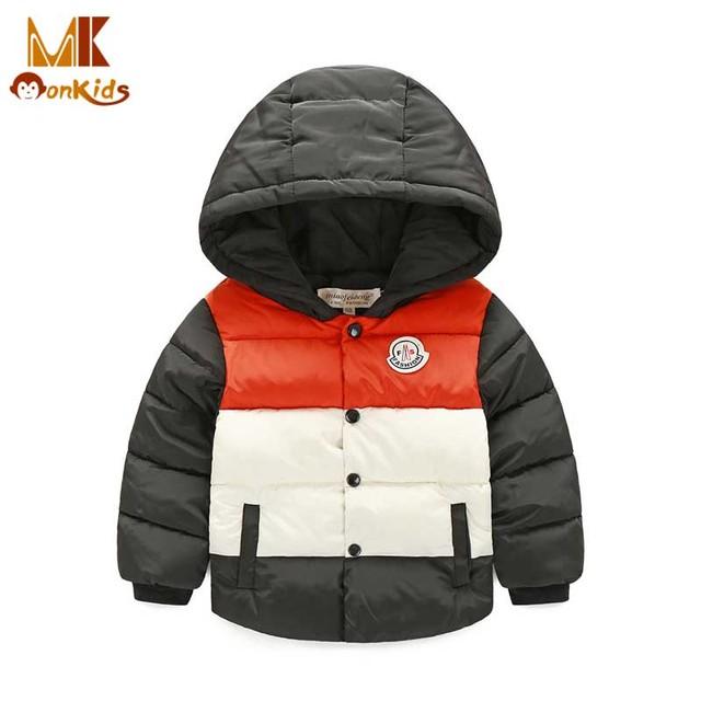 Monkids Crianças Outerwear Roupas de Inverno Casaco para As Meninas Meninos Jaqueta de Inverno Para Baixo Brasão & Jackets Roupa Dos Miúdos Patchwork